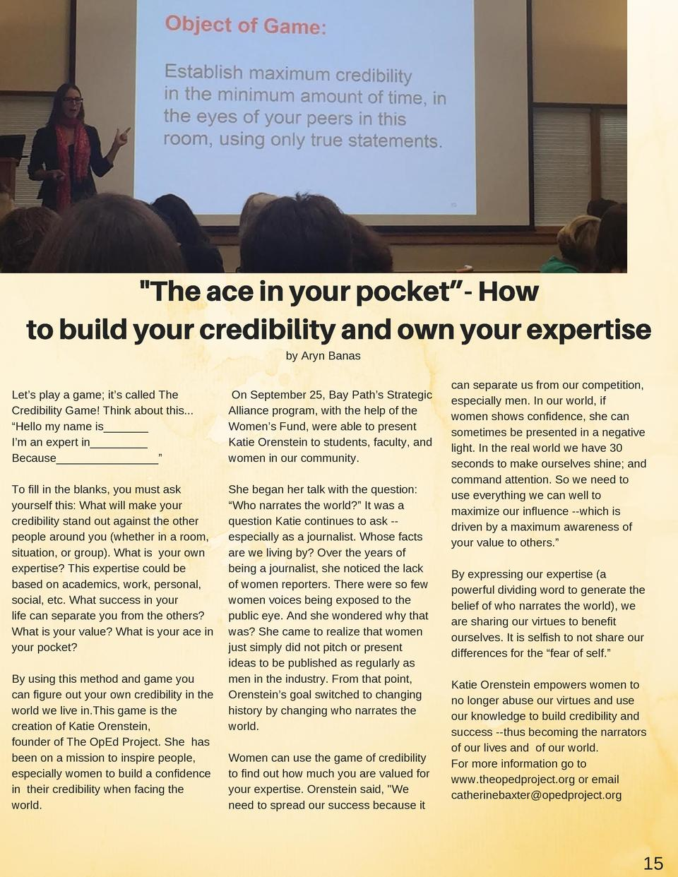 The ace in your pocket   - How to build your credibility and own your expertise by Aryn Banas Let   s play a game  it   s...