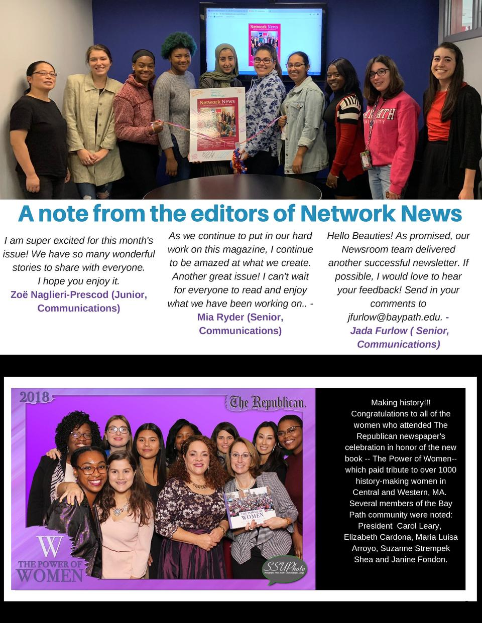 A Note from the Editors  A note from the editors of Network News I am super excited for this month s issue  We have so man...