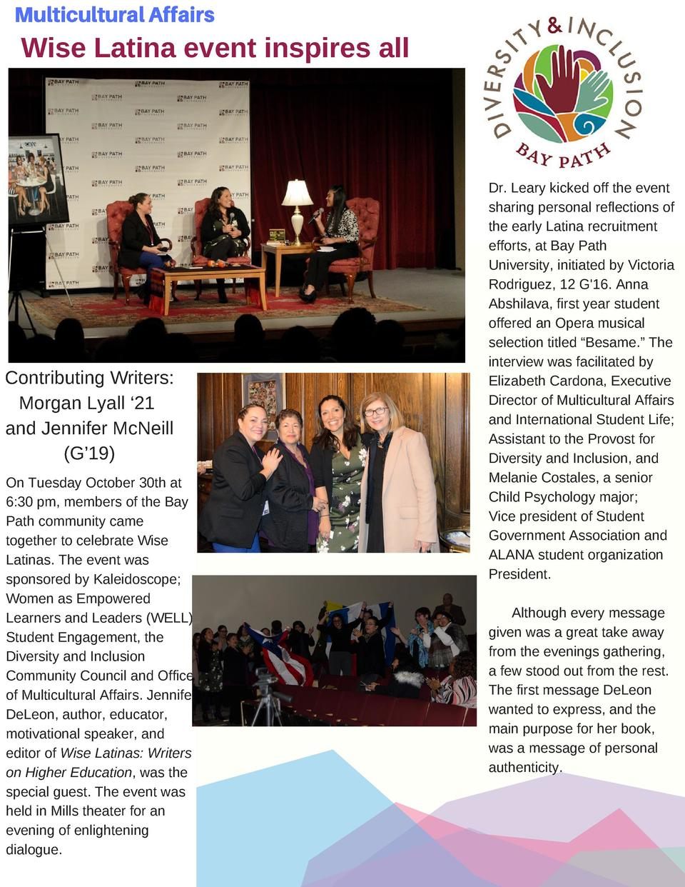 Multicultural Affairs  Wise Latina event inspires all    Contributing Writers  Morgan Lyall    21 and Jennifer McNeill  G ...