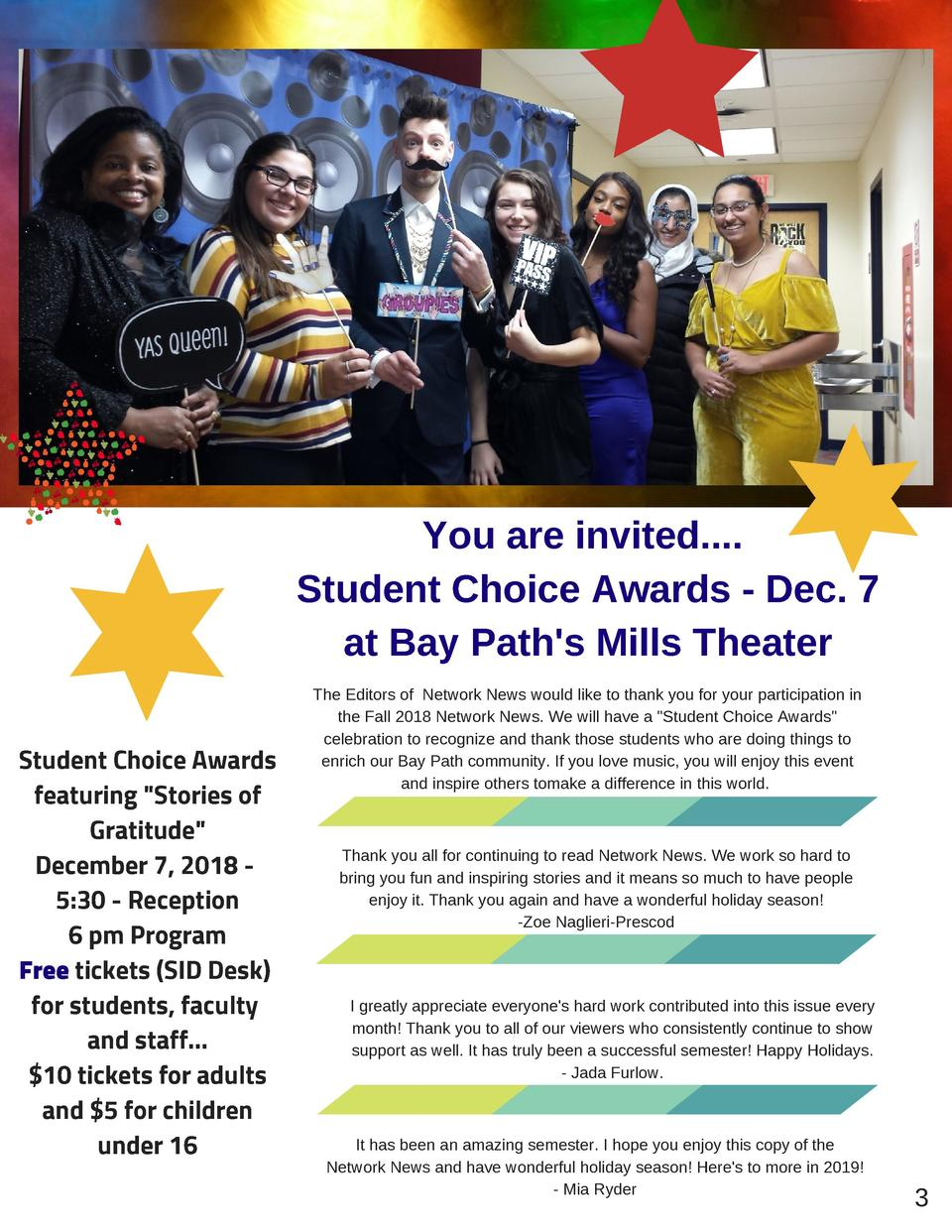 A Note from the Editors  You are invited.... Student Choice Awards - Dec. 7 at Bay Path s Mills Theater Student Choice Awa...