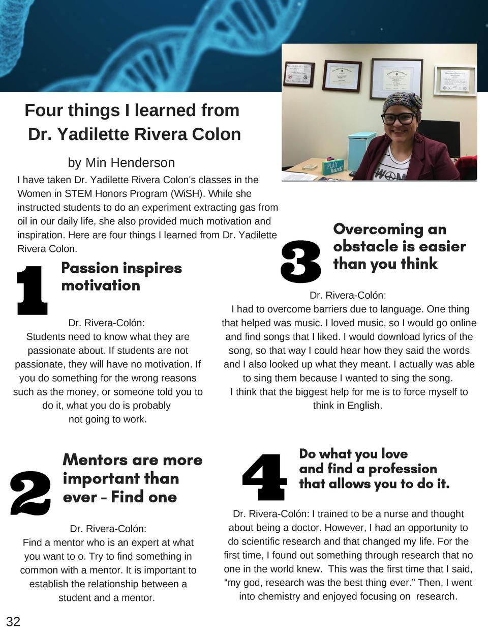 Four things I learned from Dr. Yadilette Rivera Colon by Min Henderson I have taken Dr. Yadilette Rivera Colon s classes i...