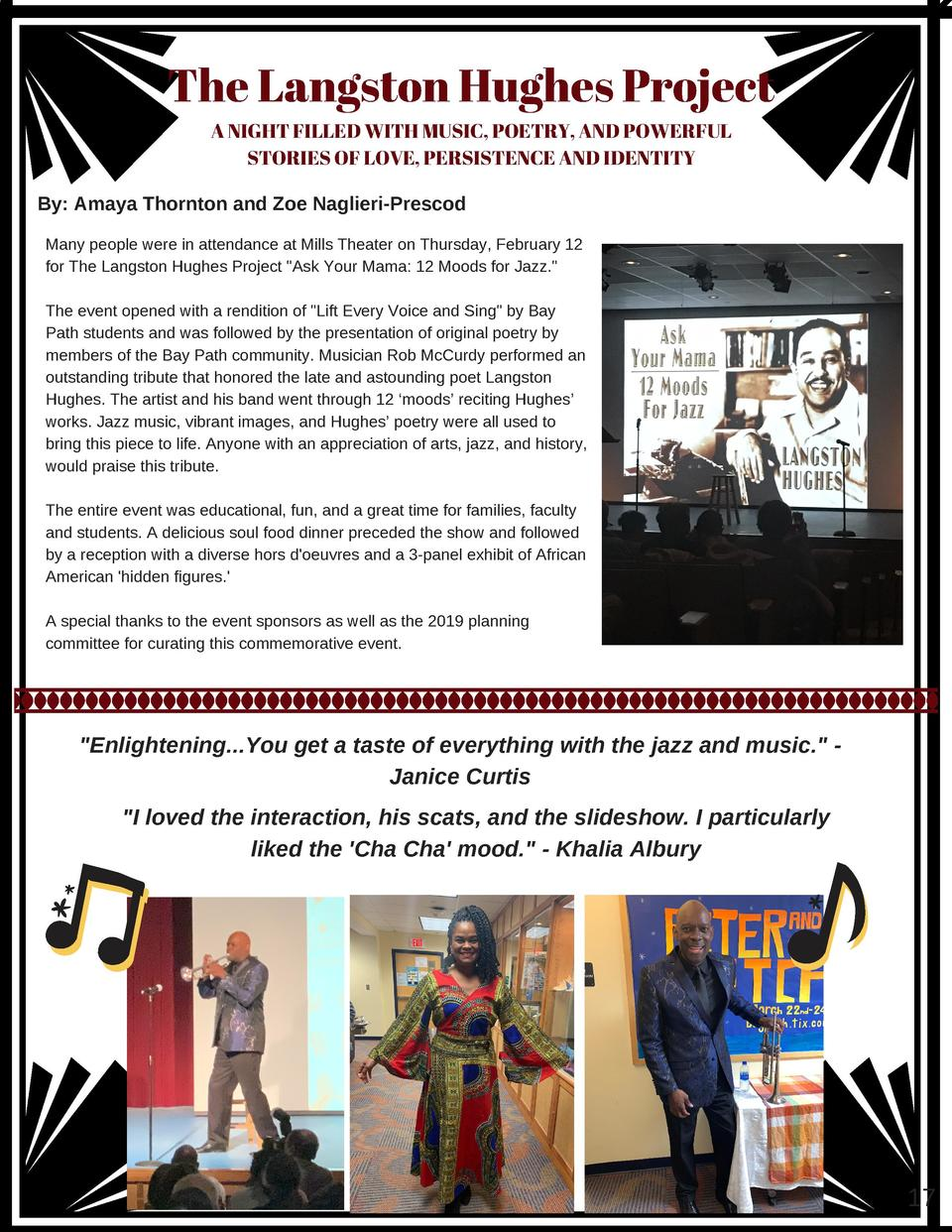 The Langston Hughes Project A NIGHT FILLED WITH MUSIC, POETRY, AND POWERFUL STORIES OF LOVE, PERSISTENCE AND IDENTITY By  ...