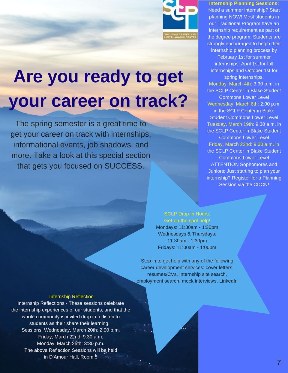 Are you ready to get your career on track  The spring semester is a great time to get your career on track with internship...