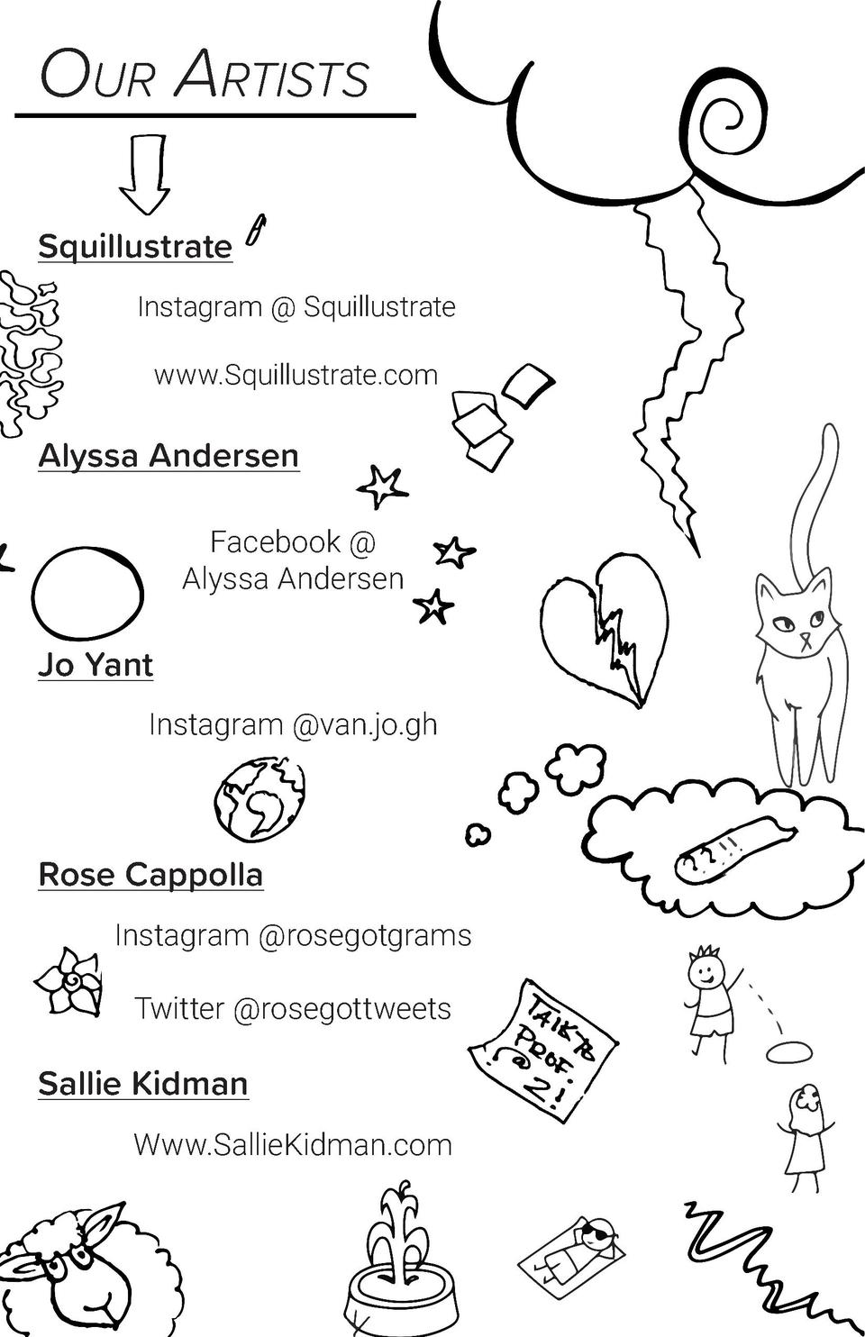 Our Artists Squillustrate Instagram   Squillustrate www.Squillustrate.com  Alyssa Andersen Facebook   Alyssa Andersen  Jo ...