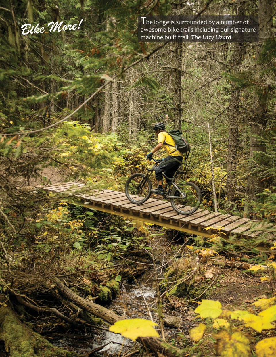 Bike More   The lodge is surrounded by a number of  awesome bike trails including our signature machine built trail, The L...