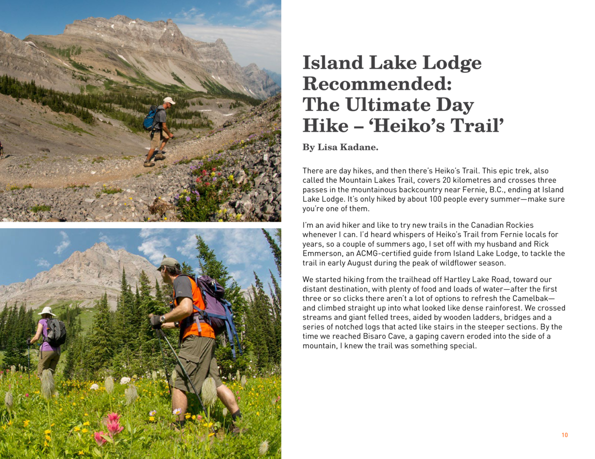 Island Lake Lodge Recommended  The Ultimate Day Hike        Heiko   s Trail    By Lisa Kadane. There are day hikes, and th...
