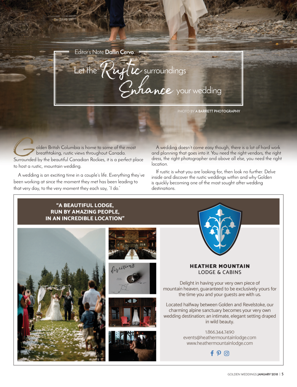 Editor   s Note Dallin Cervo  Let the  Rustic Enhance  G  surroundings your wedding PHOTO BY A BARRETT PHOTOGRAPHY  olden ...
