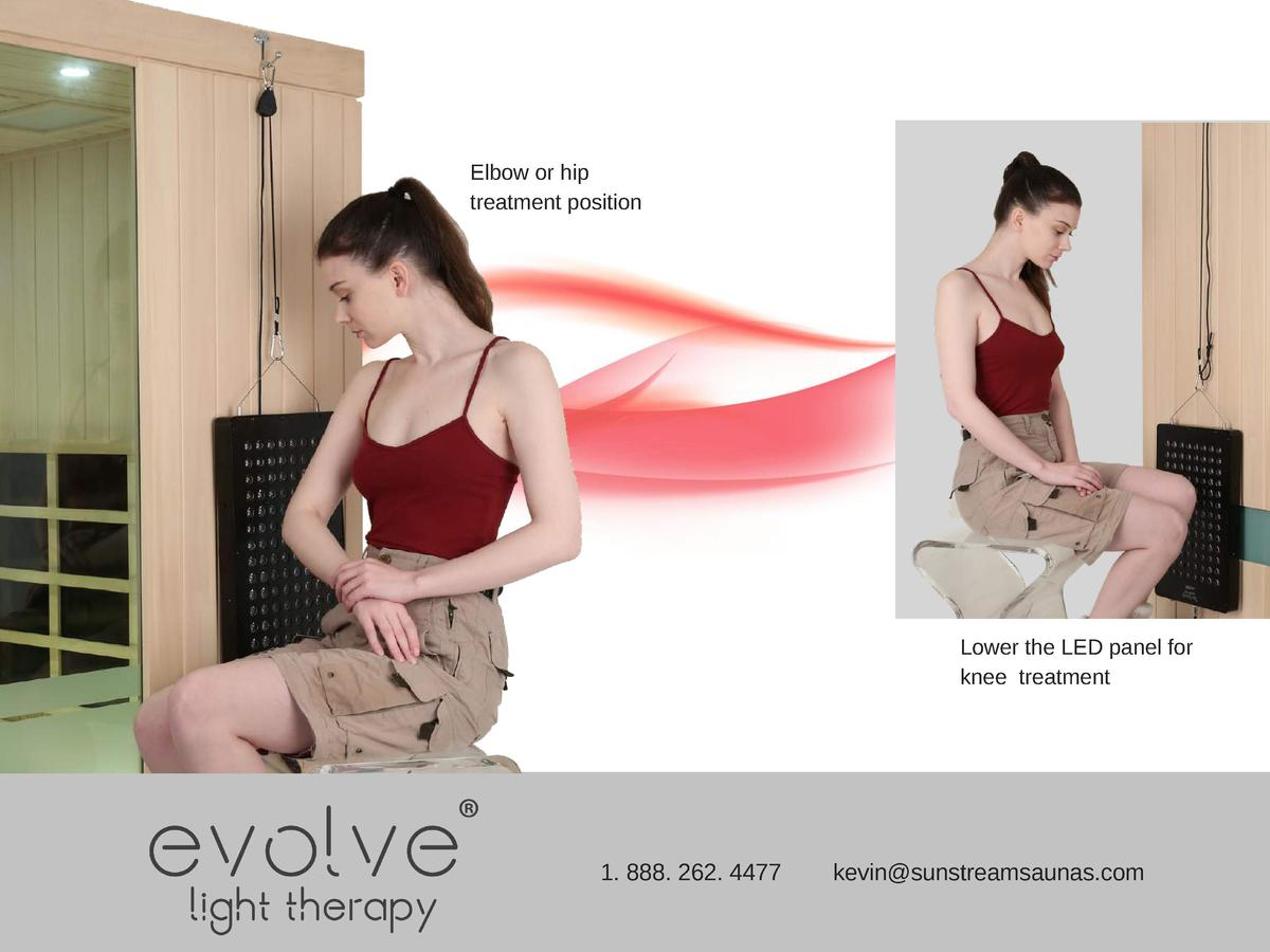 Elbow or hip treatment position  Lower the LED panel for knee treatment  1. 888. 262. 4477  kevin sunstreamsaunas.com
