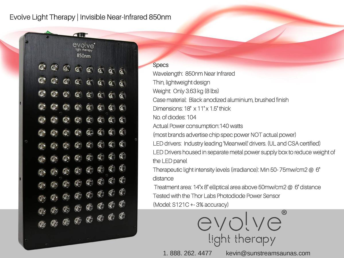 Evolve Light Therapy   Invisible Near-Infrared 850nm  Specs Wavelength  850nm Near Infrared Thin, lightweight design Weigh...