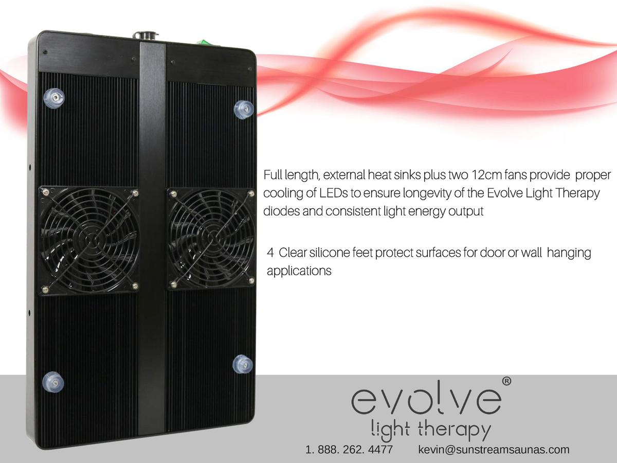Full length, external heat sinks plus two 12cm fans provide proper cooling of LEDs to ensure longevity of the Evolve Light...