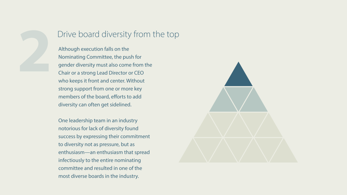 Drive board diversity from the top Although execution falls on the Nominating Committee, the push for gender diversity mus...