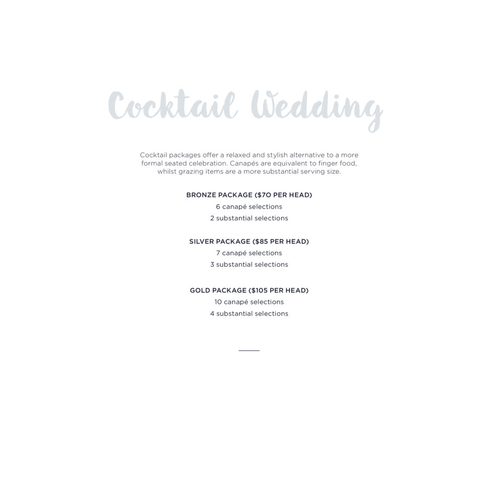 Cocktail packages offer a relaxed and stylish alternative to a more formal  seated celebration. Canap  s are equivalent to...