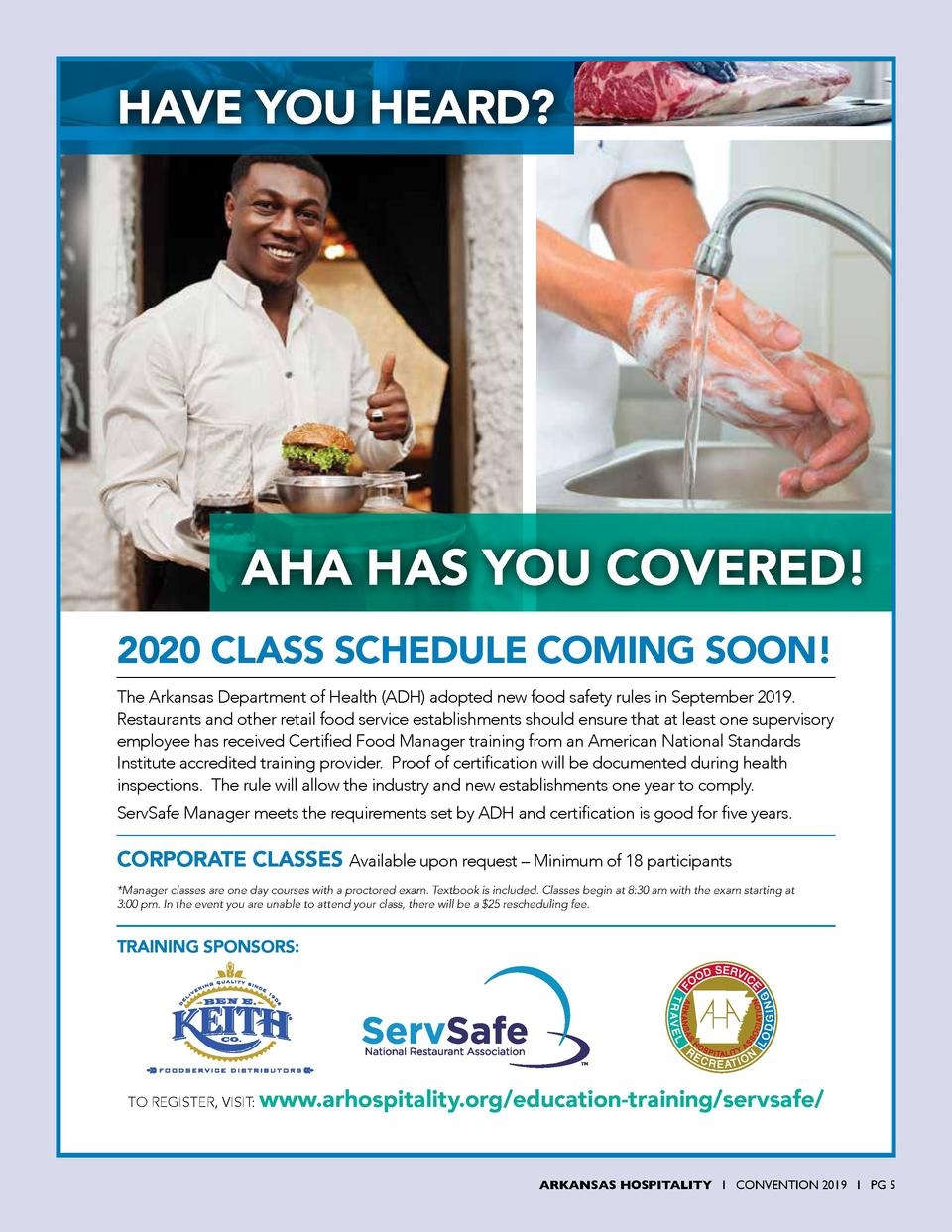 HAVE YOU HEARD   AHA HAS YOU COVERED  2020 CLASS SCHEDULE COMING SOON  The Arkansas Department of Health  ADH  adopted new...