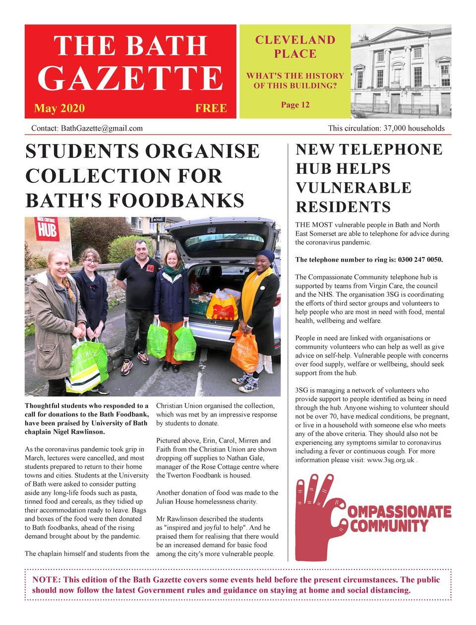 THE BATH  GAZETTE  May 2020  CLEVELAND PLACE WHAT S THE HISTORY OF THIS BUILDING   FREE  Contact  BathGazette gmail.com  P...
