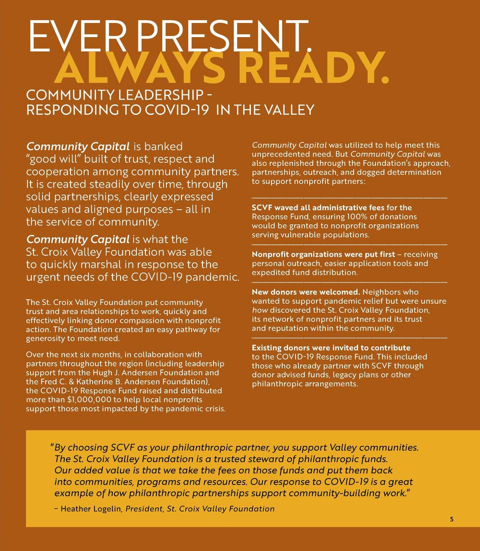 EVER PRESENT. ALWAYS READY. COMMUNITY LEADERSHIP RESPONDING TO COVID-19 IN THE VALLEY  KSTP - TV FEATURES GRANT RECIPIENT ...