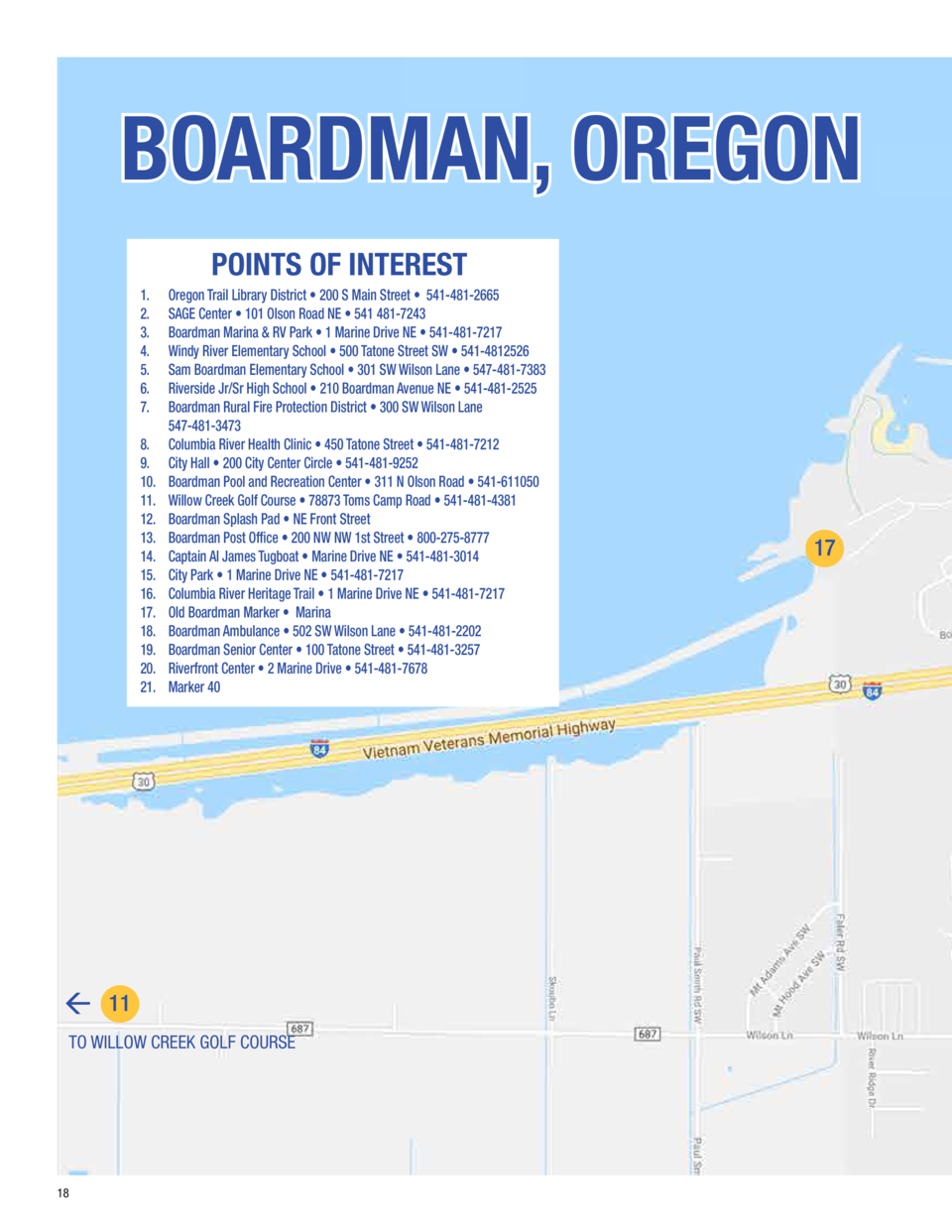 21  BOARDMAN, OREGON  20  14  POINTS OF INTEREST 1. 2. 3. 4. 5. 6. 7. 8. 9. 10. 11. 12. 13. 14. 15. 16. 17. 18. 19. 20. 21...
