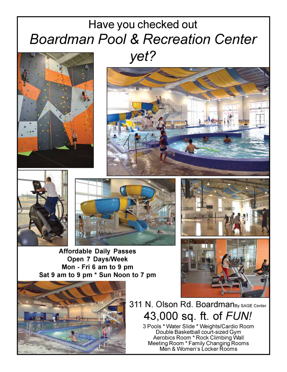 Have you checked out  Boardman Pool   Recreation Center yet   Affordable Daily Passes Open 7 Days Week Mon - Fri 6 am to 9...