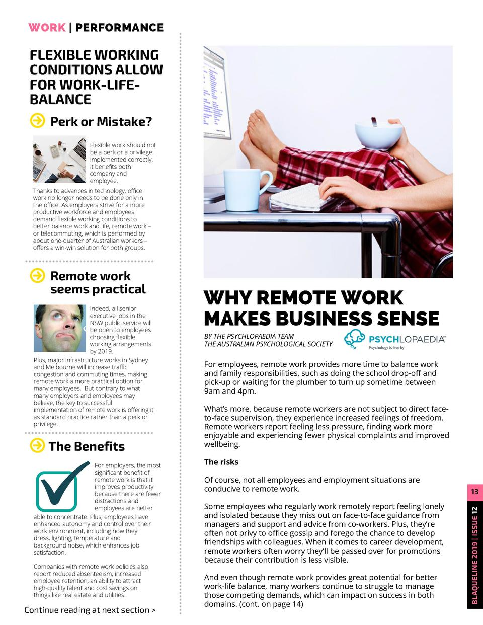 WORK     PERFORMANCE  FLEXIBLE WORKING CONDITIONS ALLOW FOR WORK-LIFEBALANCE Perk or Mistake  Flexible work should not be ...