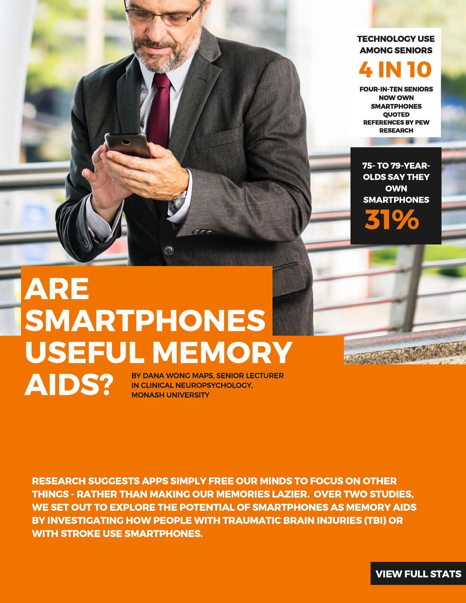 TECHNOLOGY USE AMONG SENIORS  4 IN 10 FOUR-IN-TEN SENIORS NOW OWN SMARTPHONES QUOTED REFERENCES  BY PEW RESEARCH  75- TO 7...
