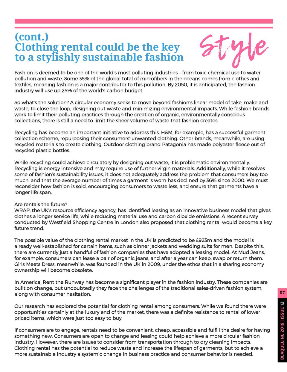 cont.    Clothing rental could be the key to a stylishly sustainable fashion  Style  Fashion is deemed to be one of the w...