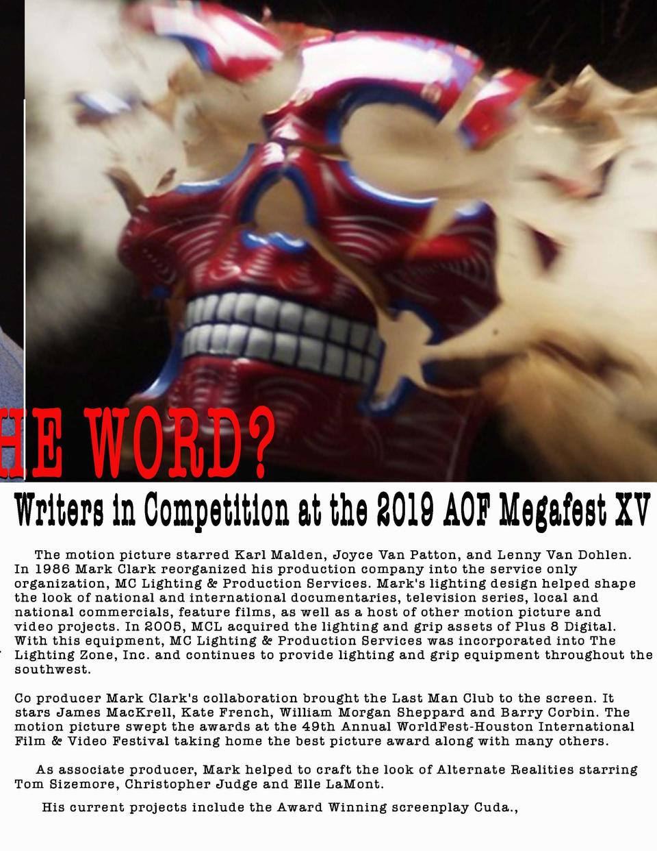 CUDA by Mark Clark  Writers in Competition  t the 2019 ACF Meg fest IV  The motion picture starred Karl Malden, Joyce Van ...