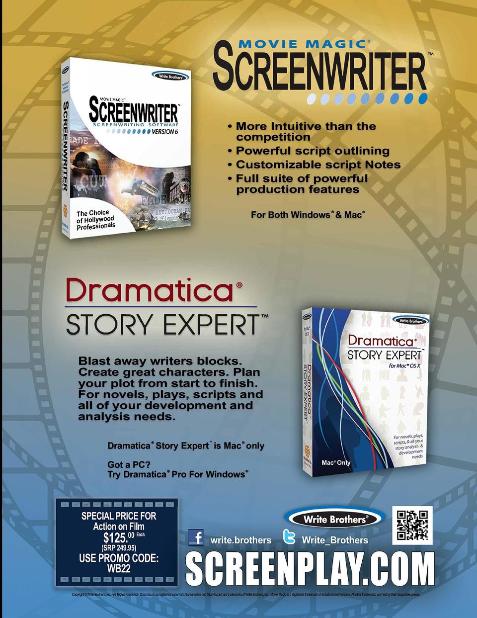 CREENWRITER,,, MOVIE MAGIC     SCREENWRITER. SCREENWRITING  SOFTWARE  I U U VERSION 6      More Intuitive than the competi...