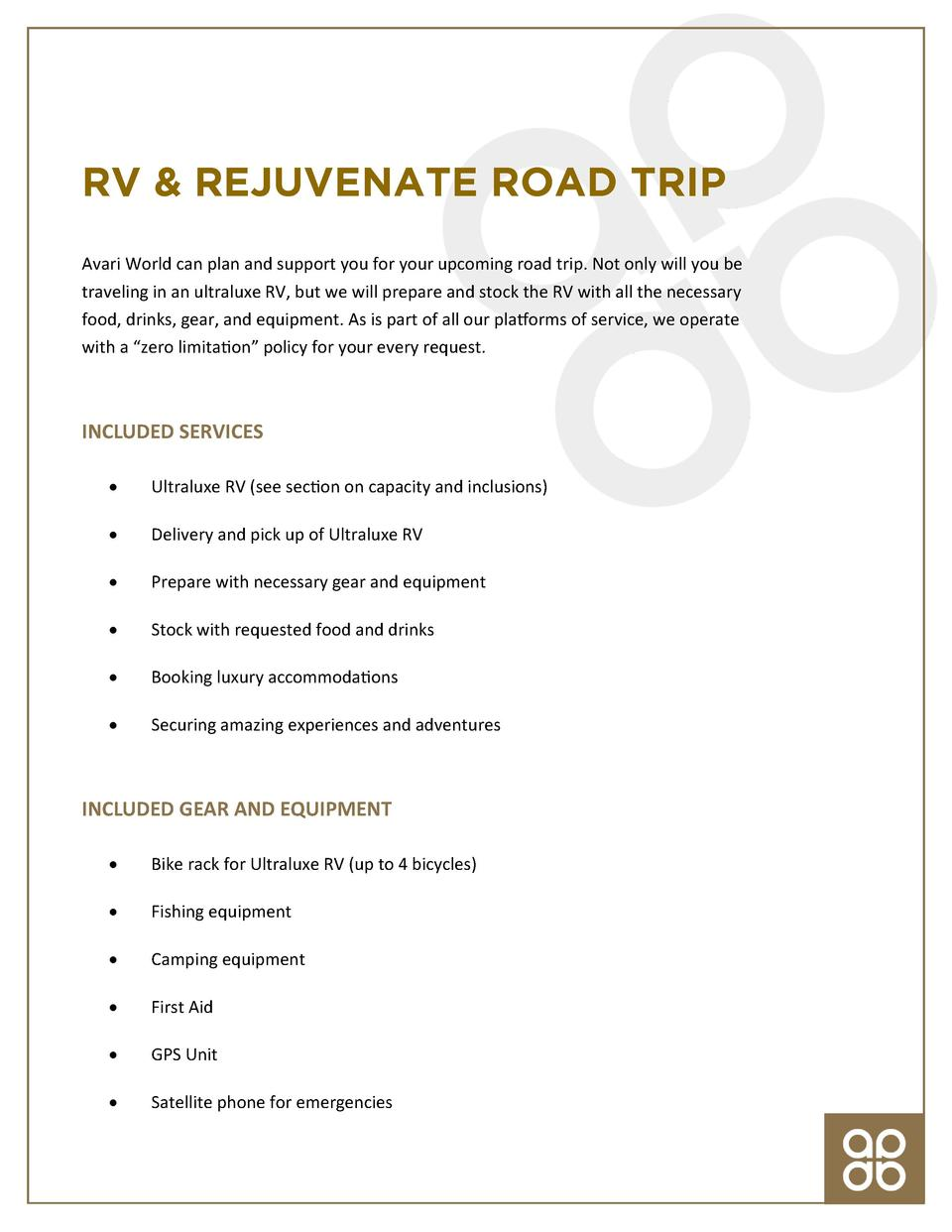 RV   REJUVENATE ROAD TRIP Avari World can plan and support you for your upcoming road trip. Not only will you be traveling...