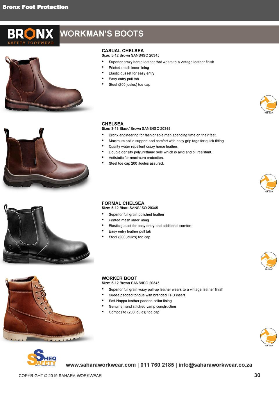a1be7e3054 Bronx Foot Protection WORKMAN S BOOTS CASUAL CHELSEA Size 5-12 Brown SANS  ISO 20345