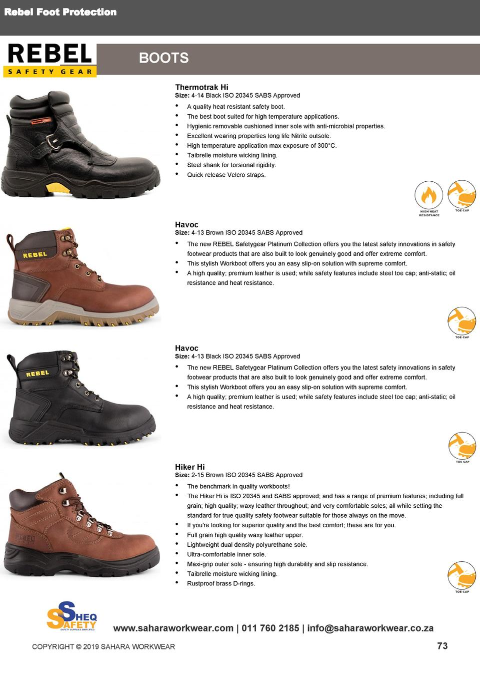 e88e7545fe Rebel Foot Protection BOOTS Thermotrak Hi Size 4-14 Black ISO 20345 SABS  Approved .