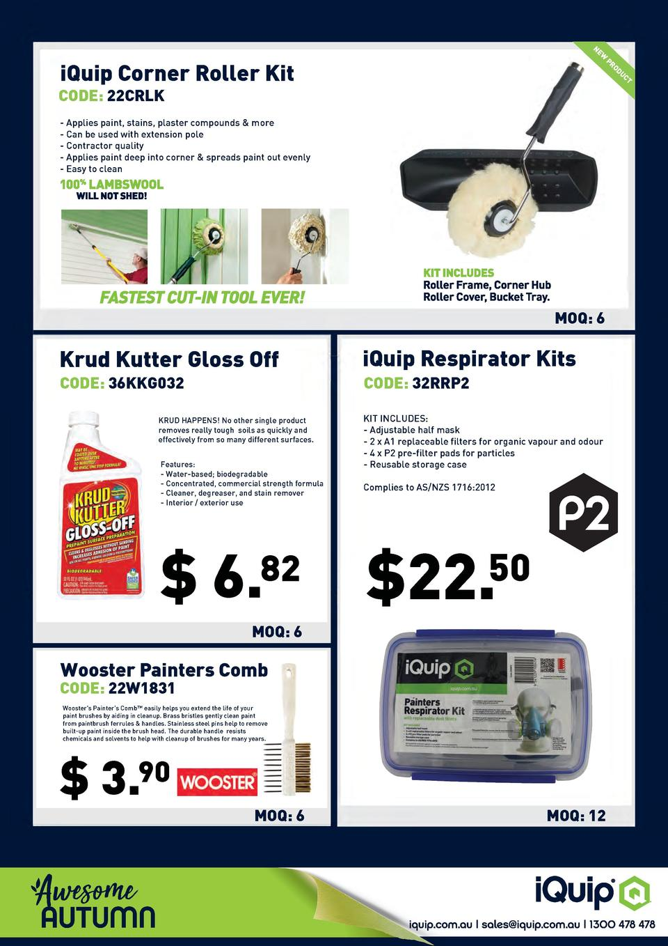 NE  W  iQuip Corner Roller Kit  PR  OD  UC  T  CODE  22CRLK  - Applies paint, stains, plaster compounds   more - Can be us...