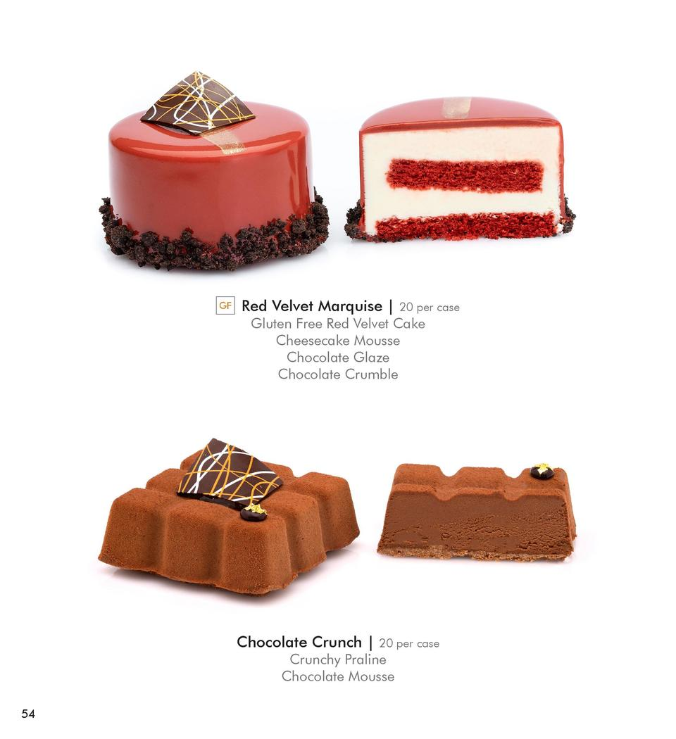 GF  Red Velvet Marquise    20 per case  Gluten Free Red Velvet Cake Cheesecake Mousse Chocolate Glaze Chocolate Crumble  C...