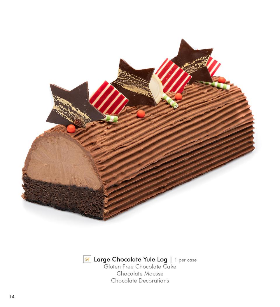 GF  Large Chocolate Yule Log    1 per case  Gluten Free Chocolate Cake Chocolate Mousse Chocolate Decorations  14