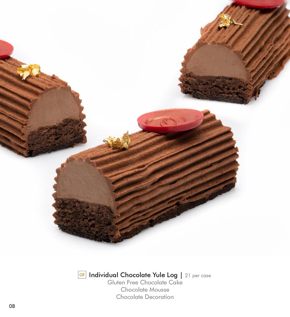 GF  Individual Chocolate Yule Log   Gluten Free Chocolate Cake Chocolate Mousse Chocolate Decoration  08  21 per case