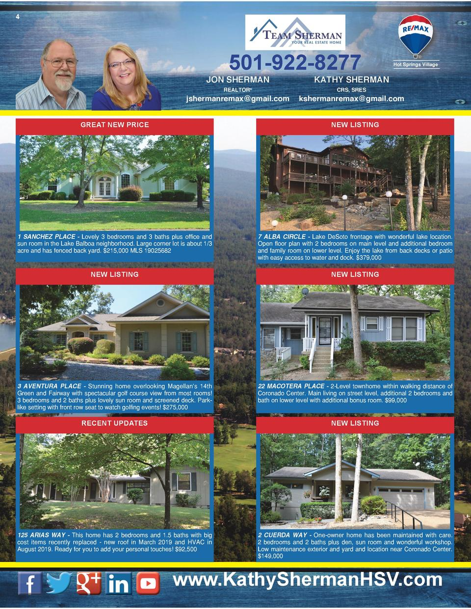 4  501-922-8277 JON SHERMAN  Hot Springs Village  KATHY SHERMAN  REALTOR    CRS, SRES  jshermanremax gmail.com  kshermanre...