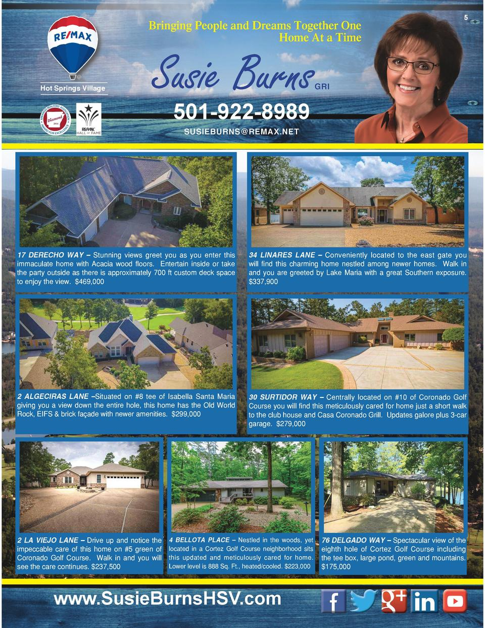 Bringing People and Dreams Together One Home At a Time  Hot Springs Village  Susie Burns  5  GRI  501-922-8989 SUSIEBURNS ...