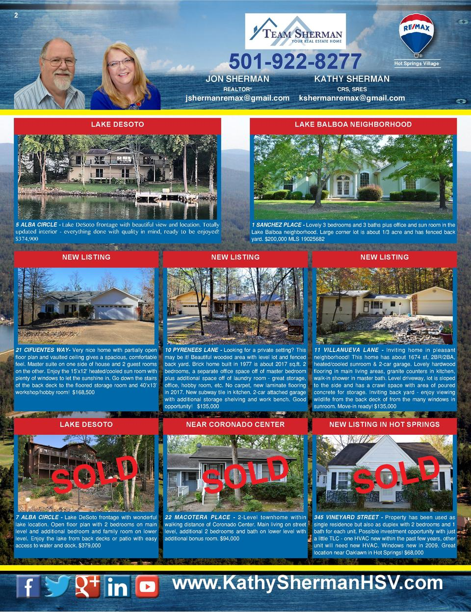 2  501-922-8277  JON SHERMAN  Hot Springs Village  KATHY SHERMAN  REALTOR    CRS, SRES  jshermanremax gmail.com  kshermanr...