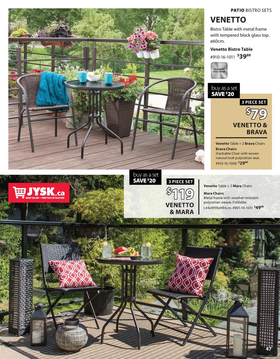 d73aca0d361a PATIO BISTRO SETS VENETTO Bistro Table with metal frame with tempered black  glass top. 60cm