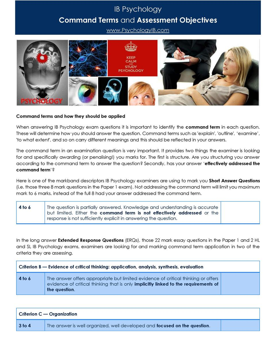 IB Psychology Command Terms and Assessment Objectives www.PsychologyIB.com  Command terms and how they should be applied W...