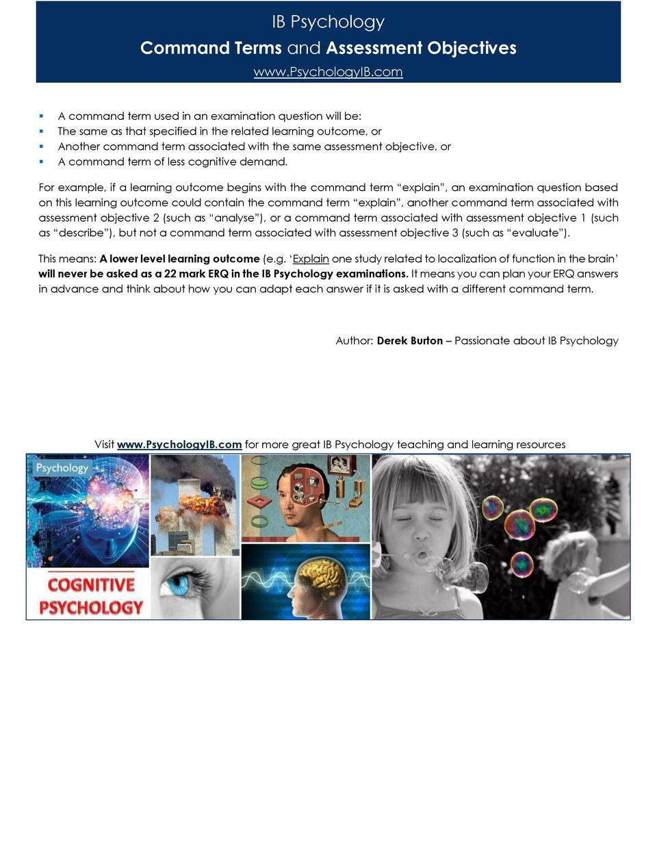 IB Psychology Command Terms and Assessment Objectives www.PsychologyIB.com                  A command term used in an exam...