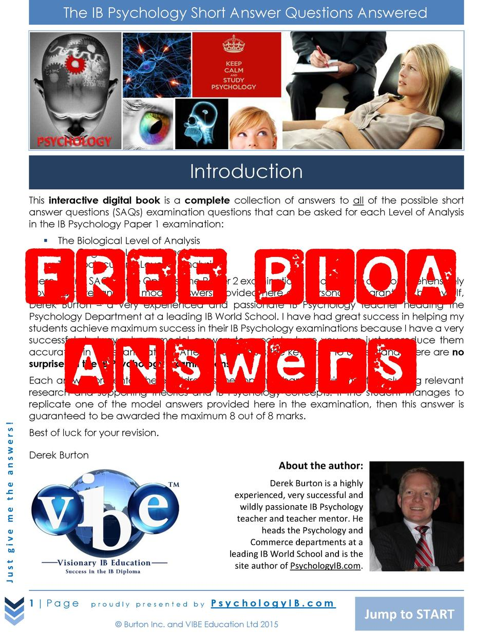 The IB Psychology Short Answer Questions Answered  Introduction This interactive digital book is a complete collection of ...