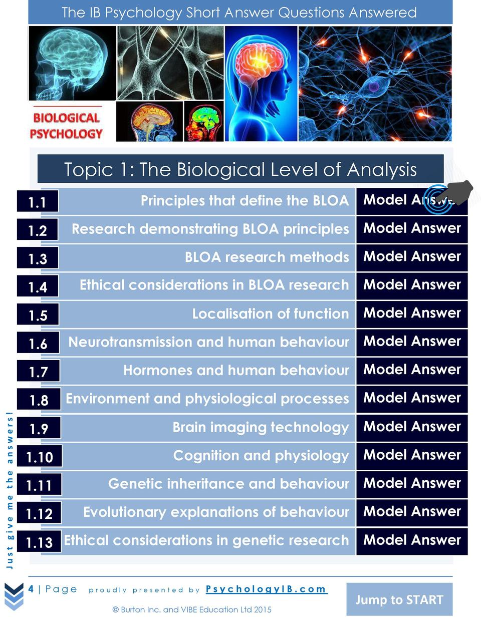 The IB Psychology Short Answer Questions Answered  Topic 1  The Biological Level of Analysis Principles that define the BL...