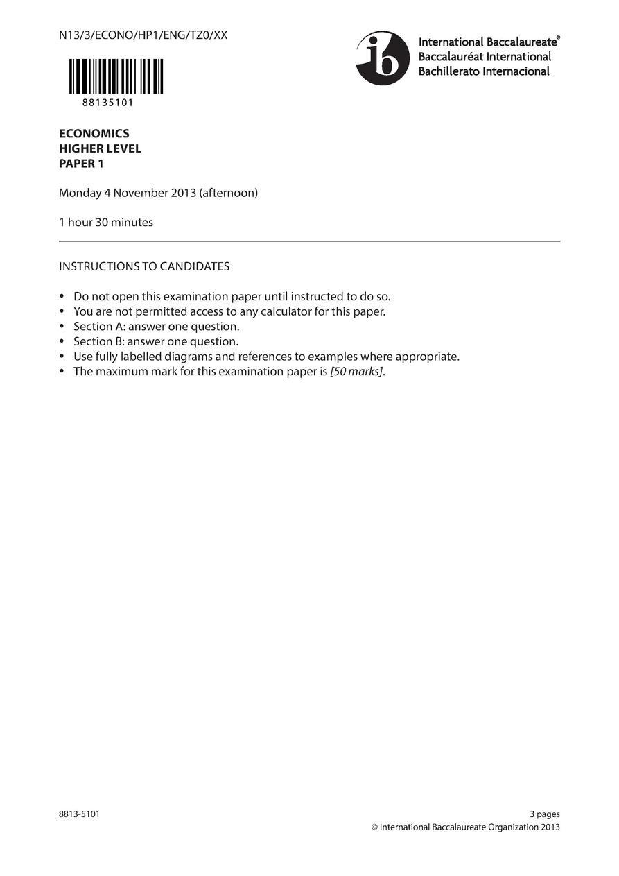 Exams 2013 IB Economics : simplebooklet com