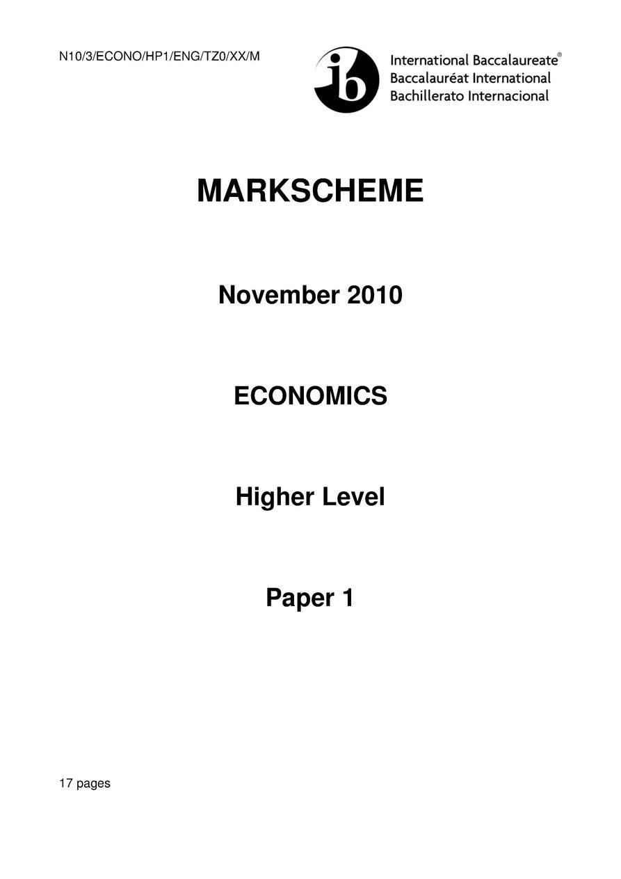 M10 3 ECONO HP1 ENG TZ1 XX  22105102  ECONOMICS Higher level PAPER 1 Wednesday 19 May 2010  afternoon  1 hour INSTRUCTIONS...