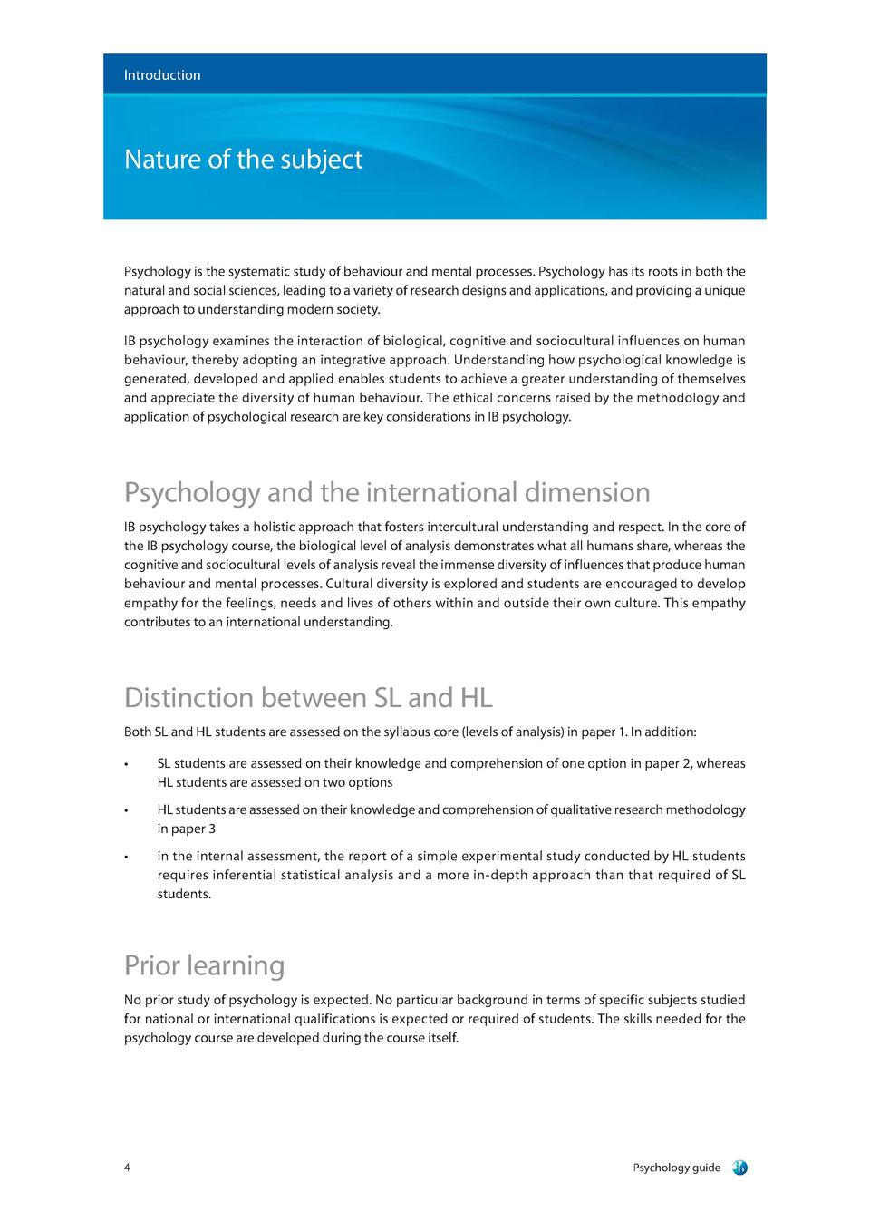 ib psychology guide first exam com introduction nature of the subject psychology is the systematic study of behaviour and mental processes