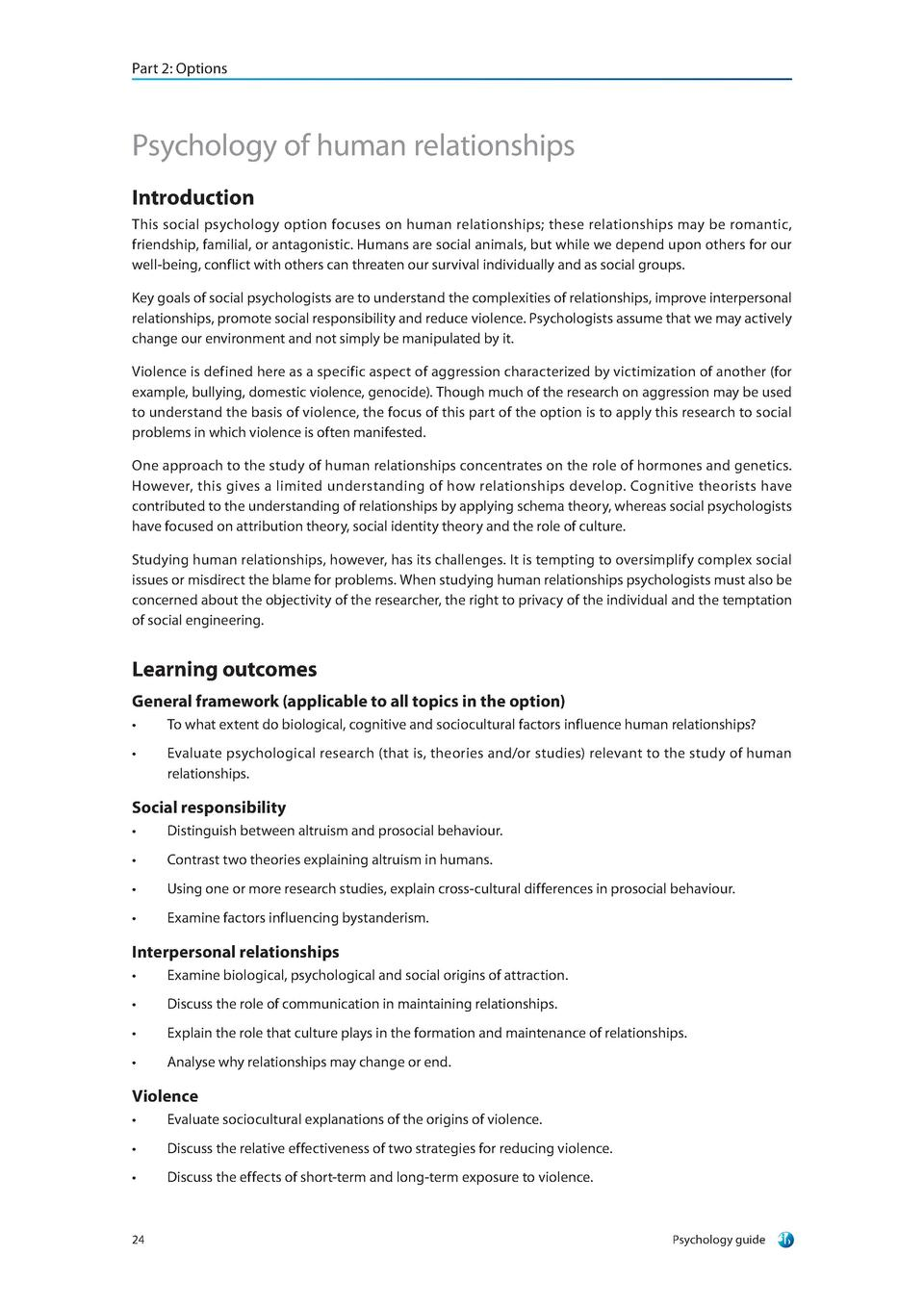 ib psychology human relationships essays The ib extended essay (or ee) is a 4,000 word structured mini-thesis that you write under the supervision of an advisor (an ib teacher at your school), which counts towards your ib diploma (to learn about all of the ib diploma requirements, check out our other article.