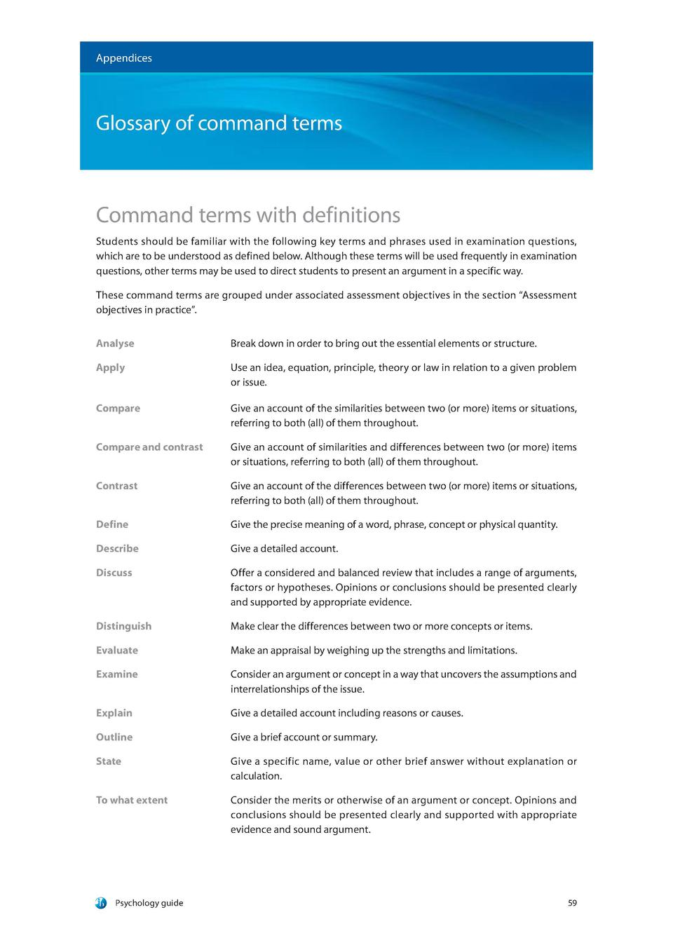 Appendices  Glossary of command terms  Command terms with definitions Students should be familiar with the following key t...