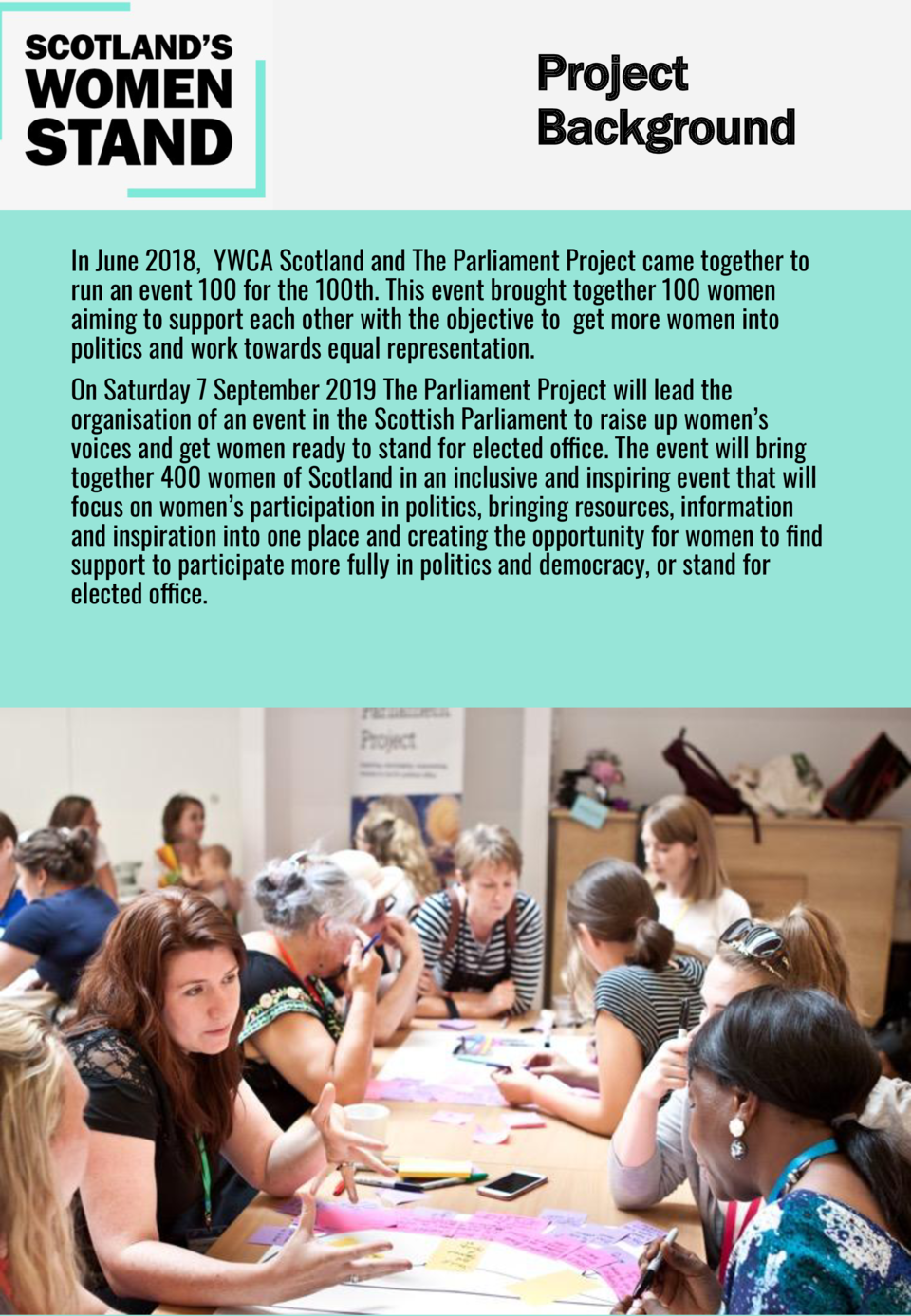Project Background In June 2018, YWCA Scotland and The Parliament Project came together to run an event 100 for the 100th....