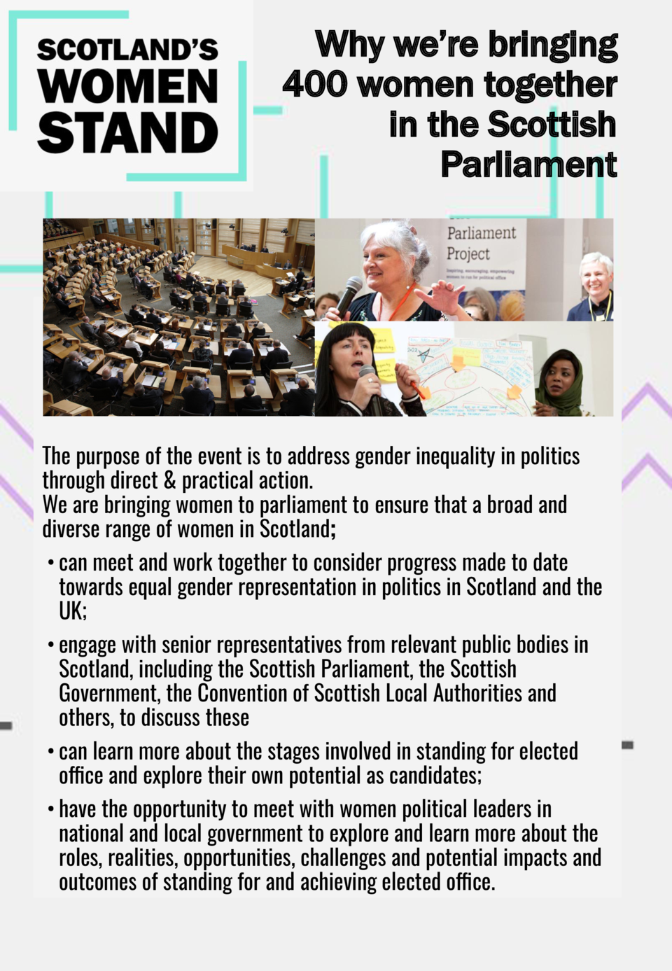 Why we   re bringing 400 women together in the Scottish Parliament  The purpose of the event is address gender inequality ...