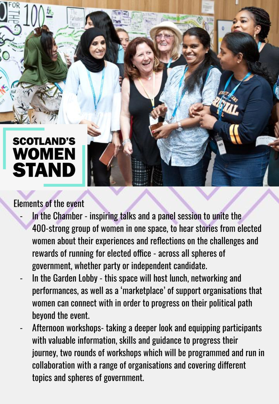 . Elements of the event - In the Chamber - inspiring talks and a panel session to unite the 400-strong group of women in o...
