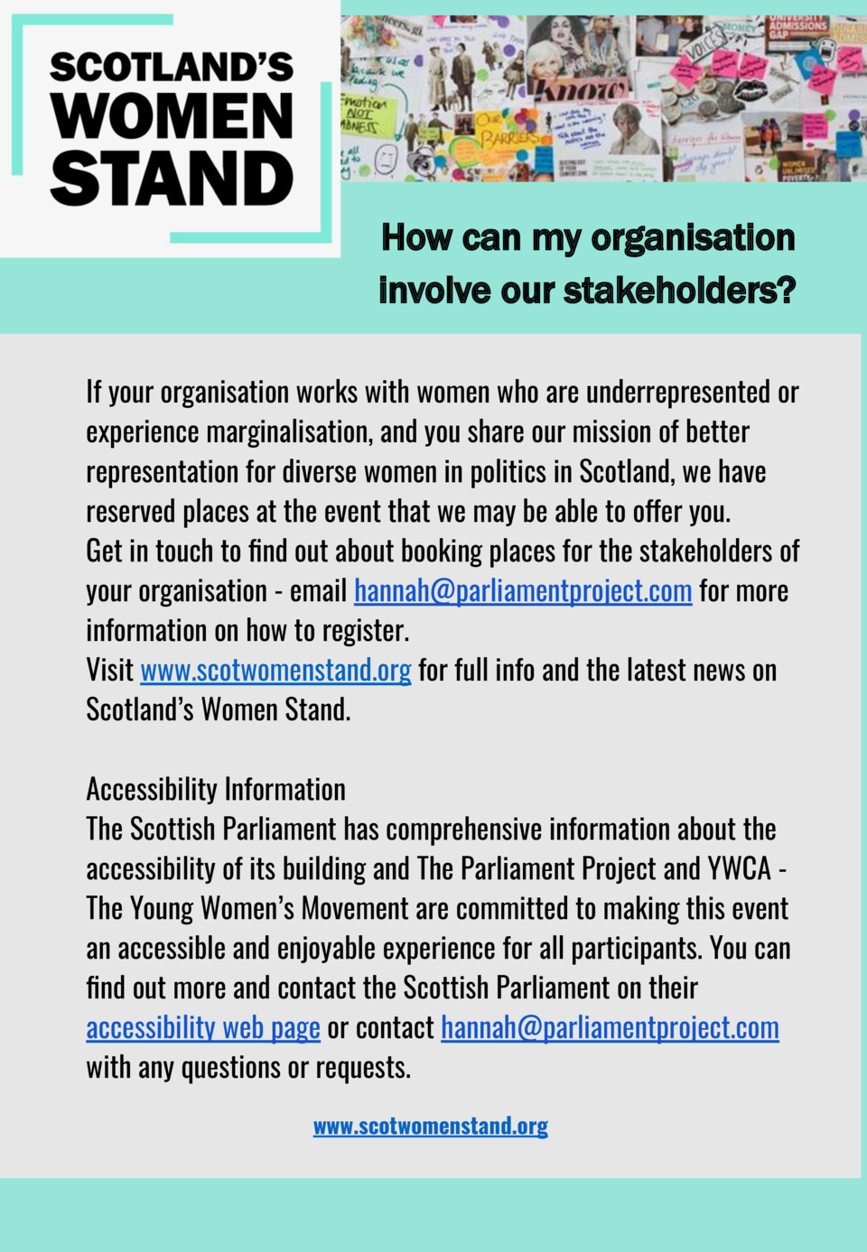 How can my organisation involve our stakeholders  If your organisation works with women and you share our mission of bette...
